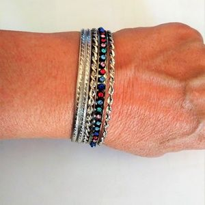Stack of 5 Silver Bangles